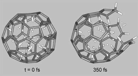 Représentation d'une simulation d'un C60. Crédit : Dr. Pupysheva