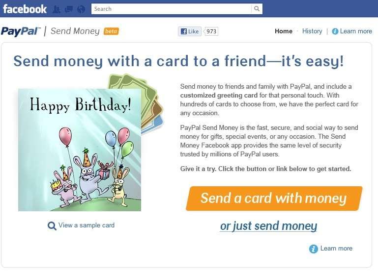 Une nouvelle application Facebook permet de transférer de l'argent à un ami, via PayPal, sans frais. © PayPal-Facebook
