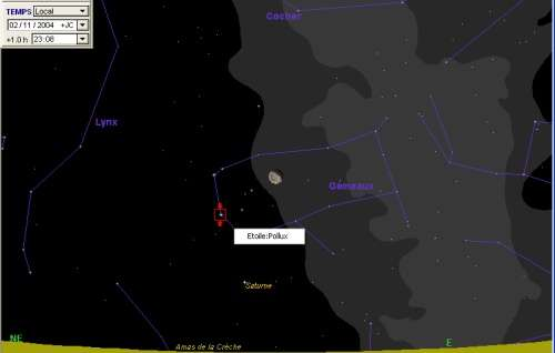 La lune passe à proximité de l'étoile Pollux, et sera en conjonction avec la planète Saturne