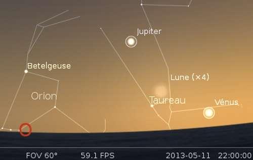 La Lune en rapprochement avec Vénus et Aldébaran