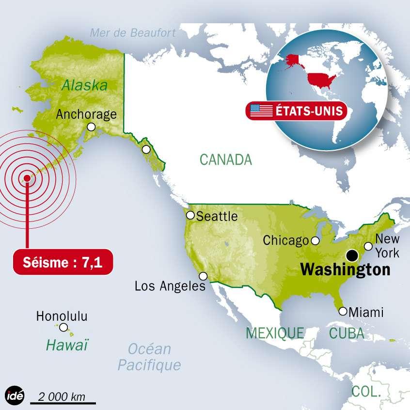 Le séisme qui s'est produit ce matin est né sous le fond de l'océan Pacifique, à quelques dizaines de kilomètres au sud des îles Fox, à la frontière entre deux plaques, sur une zone de subduction, marquée par une chaîne de montagnes (dont les îles Aléoutiennes sont la partie émergée) et par une fosse océanique profonde au pied de cette chaîne. © Idé Graphics
