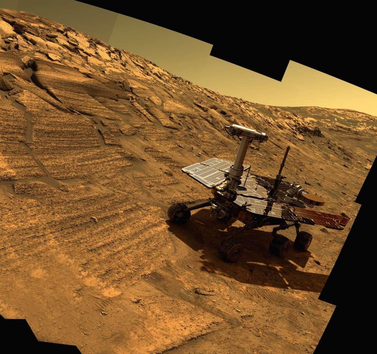 Une image d'Opportunity a été superposée à celle de la pente du cratère Endurance que le rover a réellement visité et photographié au début de sa mission. © Nasa, JPL