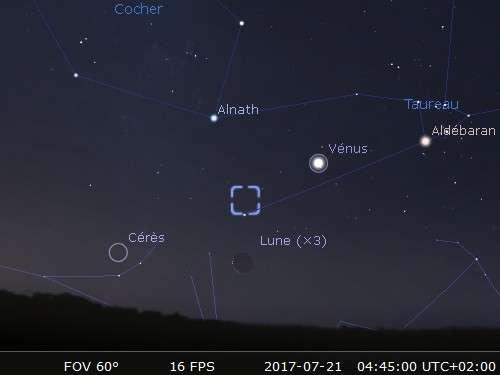 La Lune en rapprochement avec Cérès et la nébuleuse du Crabe