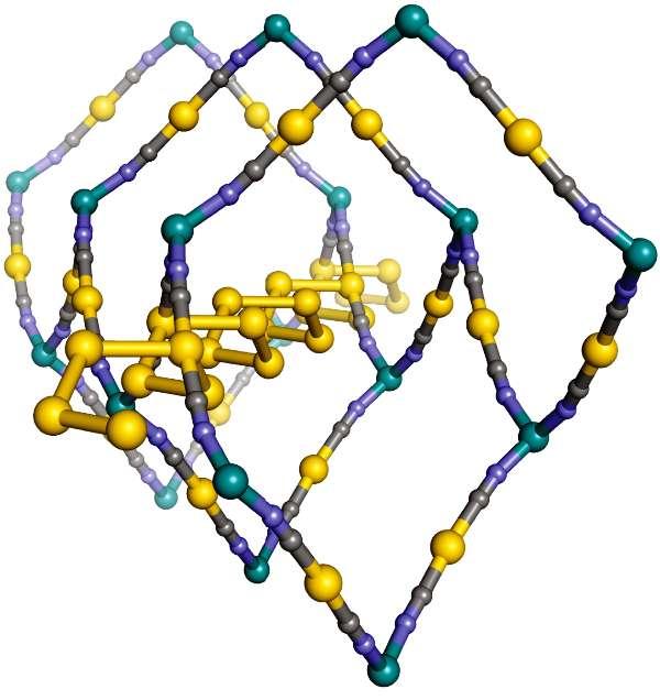 Une représentation de la molécule de dicyanoaurate de zinc, de formule Zn[Au(CN)2]2. Elle est constituée d'une sorte d'hélice en or en forme de ressort inscrite dans un cadre en nid d'abeille flexible. Les boules grises sont des atomes de carbone, celles en violet de l'azote, et le reste du zinc. Le matériau obtenu est transparent, et il présente un phénomène de compression linéaire négative géante : il se dilate quand on le comprime. © Andrew Goodwin