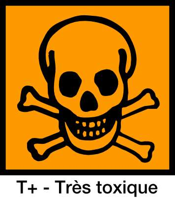 La présence de ce symbole sur un produit signifie qu'il contient des substances toxiques, et même très toxiques (T+). © Yves Guillo, domaine public