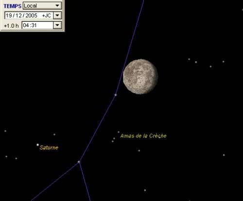 La Lune passe à proximité de l'amas de la Crèche (M44) et est en conjonction avec la planète Saturne