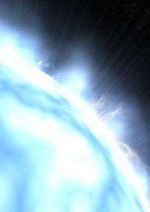 Vue d'artiste de la surface de l'étoile H1504+65, qui se serait débarassé de son enveloppe d'hydrogène et d'hélium, laissant un noyau stellaire essentiellement nu. Crédit : obspm-M.S. Sliwinski and L. I. Slivinska