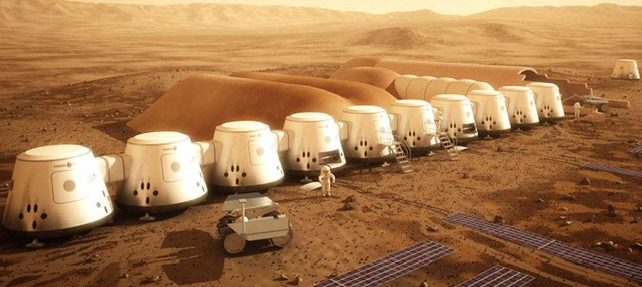 Des unités de vie du projet Mars One, installées par des missions robotisées. C'est là que veulent vivre les candidats à cette exploration humaine. © Mars One