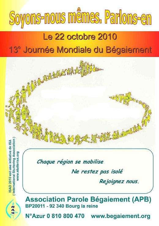 L'association Parole-bégaiement organise en France, en Suisse et en Belgique la 13e Journée mondiale du bégaiement. © APB