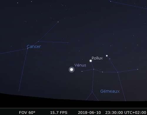 Vénus, Pollux et Castor sont alignés