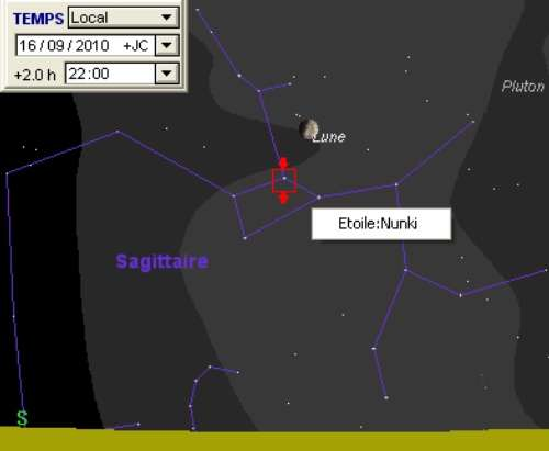 La Lune est en rapprochement avec l'étoile Nunki et la planète naine Pluton