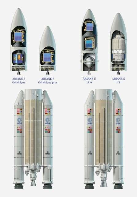 À l'image, les différentes versions de la famille Ariane 5 dont les versions Générique qui ne sont plus utilisées. Il manque sur cette image, la version ES utilisée pour lancer l'ATV de l'Esa. À droite, la version 12 ou ME pour Midlife Evolution dont l'avenir sera décidé en novembre 2012. © Esa/D. Ducros