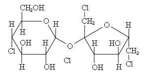 Molécule de saccharose, dioside, composée d'un glucose (à gauche) et d'un fructose (à droite). © Peter-Paul Peterson, Wikimedia domaine public