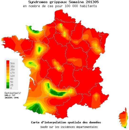 La grande majorité de la France est dans le rouge concernant l'épidémie de grippe. Seules quelques régions tirent leur épingle du jeu. À priori, dans les semaines à venir, le vert devrait réussir à s'imposer davantage... © Réseau Sentinelles