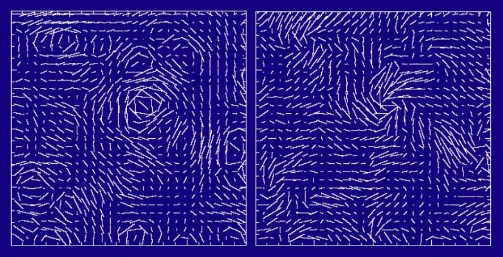 Sur la gauche, une simulation des modes E et sur la droite une simulation des modes B. Ces modes décrivent la polarisation linéaire du rayonnement fossile. Chaque barre blanche indique l'orientation sur une portion de la voûte céleste de la polarisation. La théorie de l'inflation prédit l'existence des modes B. Les scientifiques cherchent à les détecter pour démontrer la justesse de cette théorie. © Wayne Hu