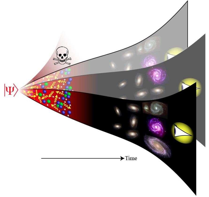 L'univers devrait être un grand système quantique décrit par l'équivalent de l'équation de Schrödinger pour les électrons dans un atome. Elle gouverne l'évolution de la fonction d'onde de l'univers, lΨ>, du Big Bang jusqu'à nos jours. Pour donner sens à cette équation en cosmologie quantique, plusieurs chercheurs ont été conduits à supposer l'existence d'univers parallèles ne différant les uns les autres que par le cours des événements qui s'y déroulent. Dans certains, des structures complexes conscientes apparaissent et observent leur univers alors que d'autres en sont dépourvus. © Max Tegmark