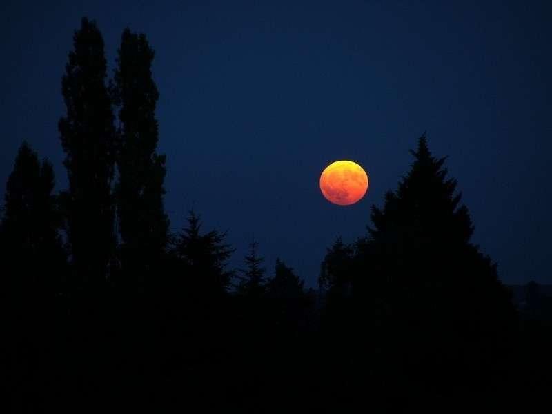Le 21 décembre à l'aube, le coucher de Lune pendant l'éclipse permettra de jolies compositions avec les paysages terrestres. © J.-B. Feldmann