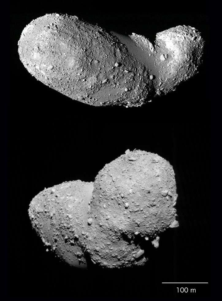 Personne ne sait avec certitude si la sonde Hayabusa a bien pu collecter quelques poussières sur l'astéroïde Itokawa qu'elle a photographié sous différents angles en 2005. Crédit Jaxa