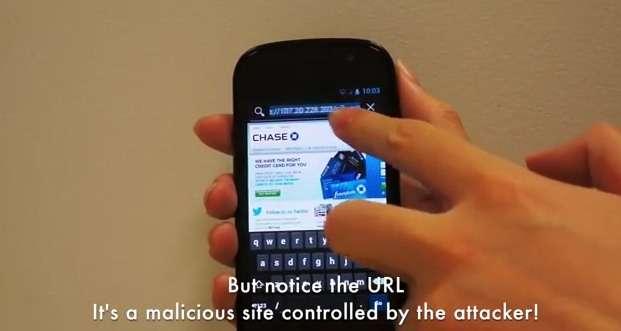 Une démonstration d'une exploitation de la faille de sécurité découverte dans Android. Une application malveillante trompe l'outil de mise à jour d'Android pour s'octroyer des permissions d'accès. Une fois la nouvelle version de l'OS installée, elle peut accéder aux données personnelles et modifier les paramètres à loisir. Ici, un lien vers un site Web se faisant passer pour celui de la banque du possesseur du téléphone est ajouté dans les favoris du navigateur. Connectée, la victime entre son identifiant et son mot de passe que l'application malveillante récupère. © secureandroidupdate.org
