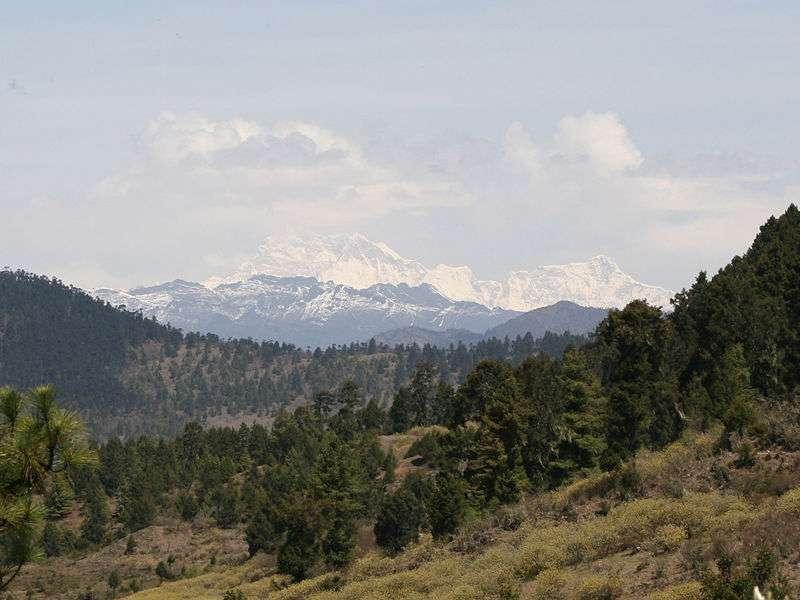 En arrière-plan, le Gangkhar Puensum, qui signifie littéralement « trois frères de la montagne ». À cheval entre le Bhoutan et la Chine, il culmine à 7.570 m d'altitude. Il est le plus haut sommet à n'avoir toujours pas été gravi. © Rhion, Wikipédia, DP