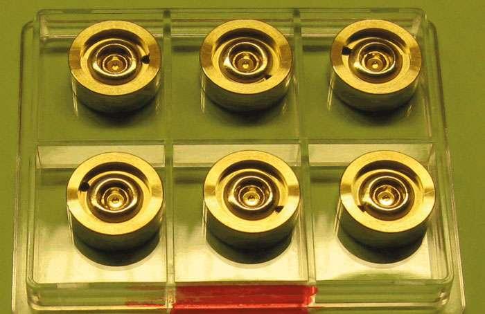 Des prototypes de lentilles gamma en or étudiés par les chercheurs. © Dietrich Habs