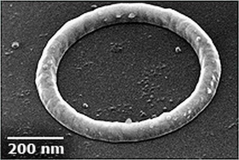 Un des anneaux de taille nanométrique dans lesquels des courants peuvent s'écouler pendant de très longues durées. Crédit : Jack Harris/Yale University