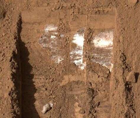 Détail de la nouvelle tranchée creusée par Phoenix. Crédit Nasa