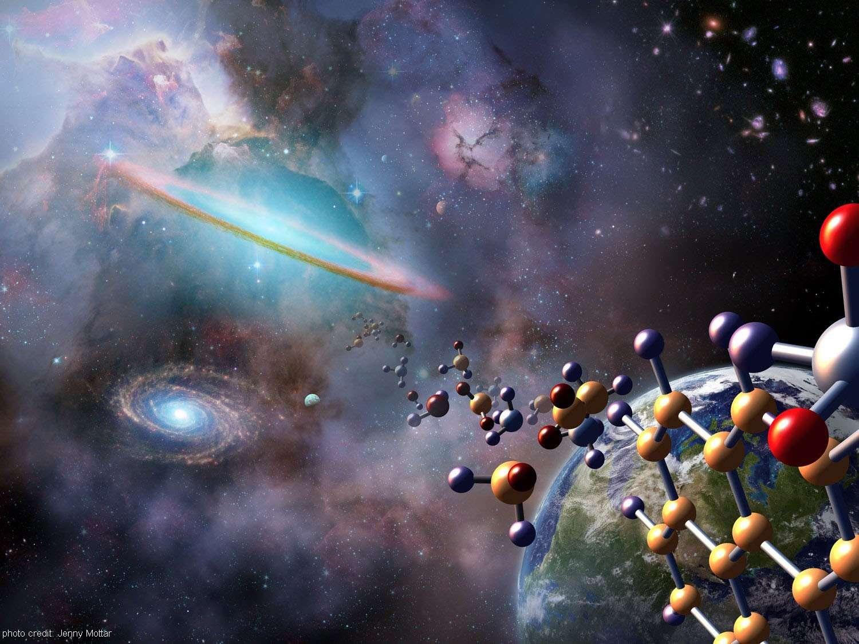 Vue d'artiste illustrant le domaine de l'astrochimie. Contre toute attente, la chimie interstellaire dans les nuages moléculaires s'est révélée complexe et active. © Jenny Mottar