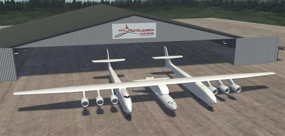 Six réacteurs, deux fuselages, 117 mètres d'envergure : Burt Rutan a vu grand. Ressemblant à deux Boeing 747 qu'on aurait fusionnés, l'avion pèserait 545 tonnes. C'est ce qu'il faut pour transporter une fusée à deux étages capable de mettre 6 tonnes en orbite. © Stratolaunch