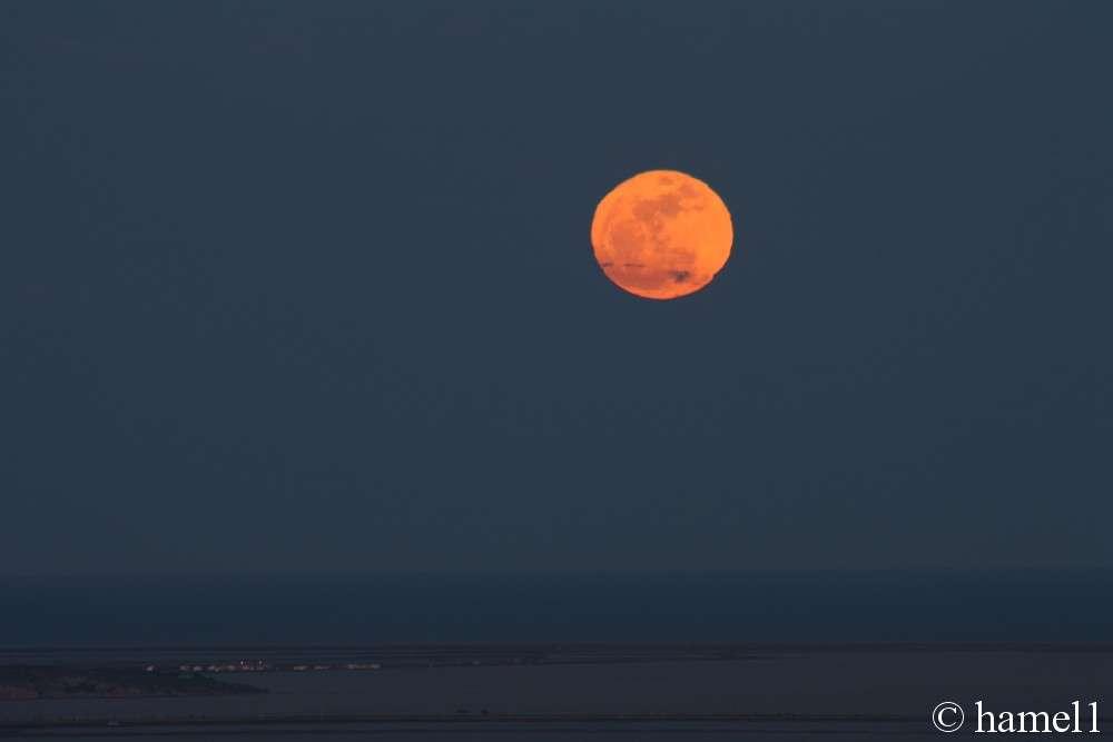 Lever d'une super Pleine Lune au-dessus de la Méditerranée depuis une colline des Corbières. © hamel1