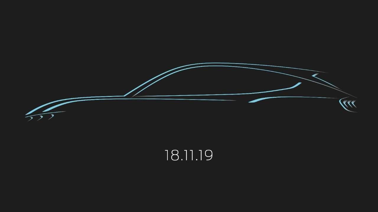 Ce croquis officiel du futur SUV électrique Ford reprend la signature lumineuse typique de la Ford Mustang. © Ford