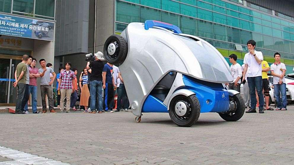 Repliée, la voiture électrique Armadillo-T ne mesure que 1,65 m de long. La preuve en image. © Kaist