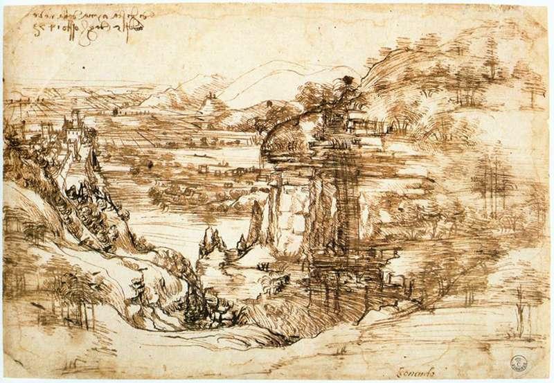 Le paysage de la vallée de l'Arno ou Le paysage (Il Paesaggio) est un dessin de Léonard de Vinci daté de 1473, conservé à la Galerie des Offices de Florence. © DP