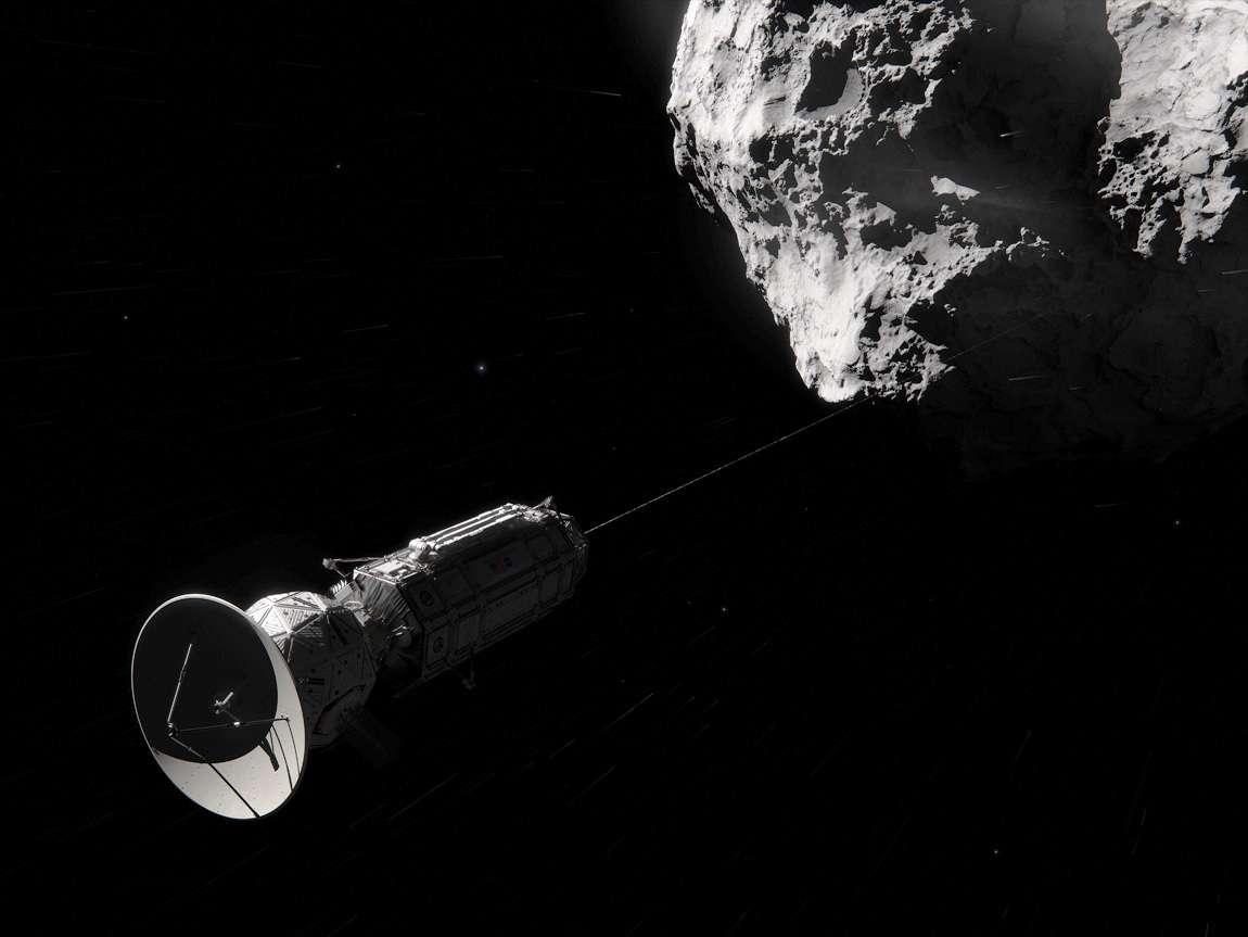 Un jour, une sonde s'accrochera peut-être à une comète à l'aide d'un câble, comme sur ce montage d'artiste inspiré du projet Comet Hitchhiker. Un tel procédé permet d'envisager des missions à faible coût, avec peu de carburant, pour explorer une dizaine de comètes à longues périodes afin d'en apprendre plus sur la formation du Système solaire et l'origine de la vie. © Nasa/JPL-Caltech/Cornelius Dammrich
