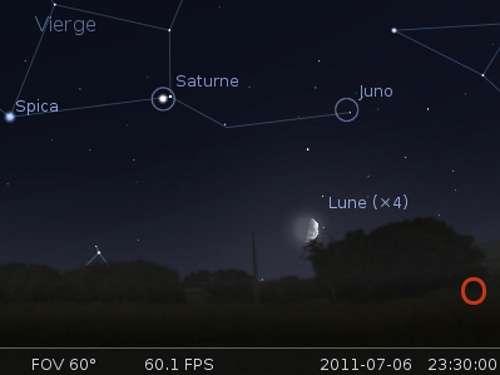 La Lune en rapprochement avec Juno
