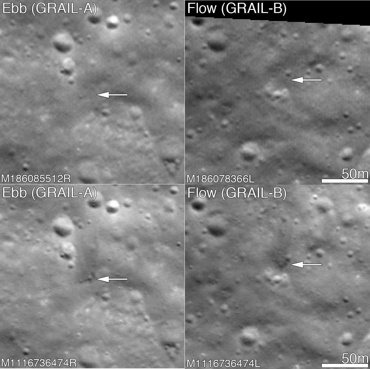 Ces images montrent les cratères formés par les impacts de Flow et Ebb, les deux sondes de la mission Grail qui ont percuté le sol lunaire le 17 décembre 2012. Ces clichés ont été réalisés par l'orbiteur LRO depuis une altitude de 160 km. © Nasa, GSFC, Arizona State University