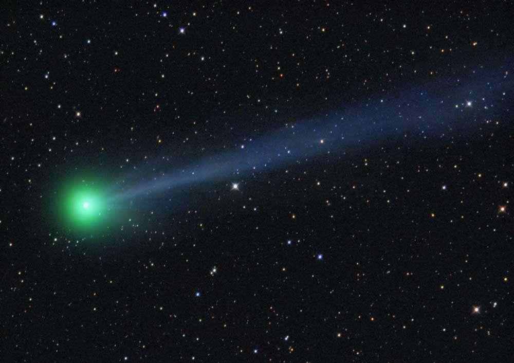 La comète C/2009 R1 photographiée le 6 juin avec un télescope de 20 centimètres de diamètre et une caméra ccd. Crédit Michael Jager