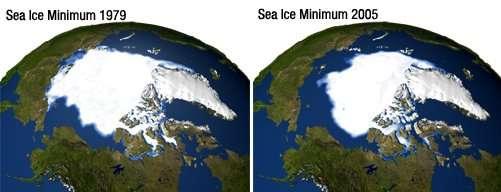 Les observations par satellite semblent indiquer que la fonte des glaces de la calotte arctique et du Groenland est plus rapide que prévue. © Nasa