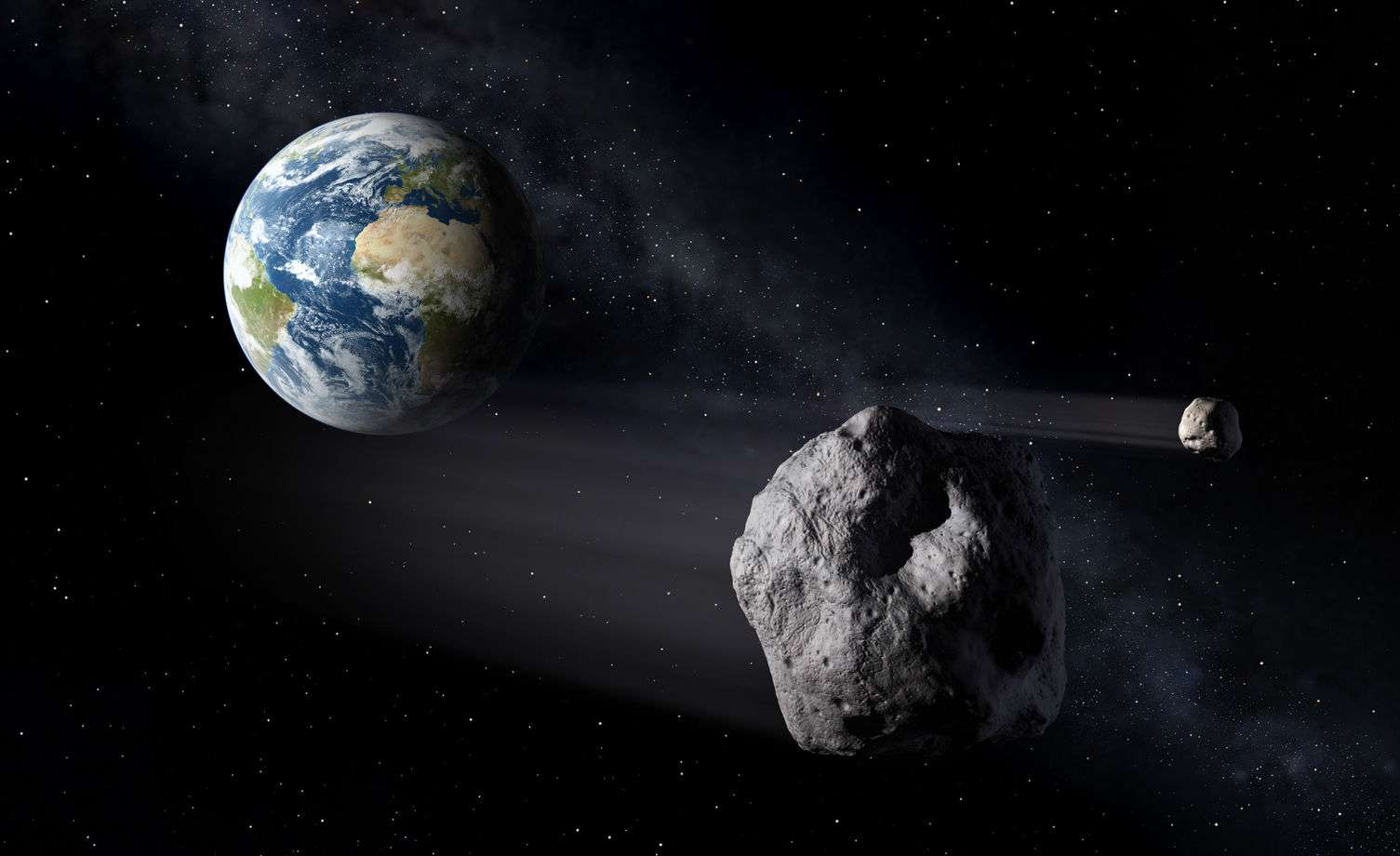 Illustration d'un géocroiseur ou NEO, Near Earth Object. © Esa, P.Carril