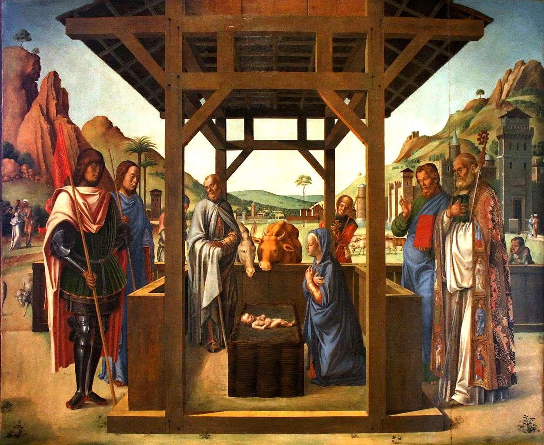 Scène de la nativité présentant les saints Jacob, Eustache, Nicolas et Marc, un chef-d'œuvre des peintres de la Renaissance italienne. © M0tty, Wikimedia Commons, DP