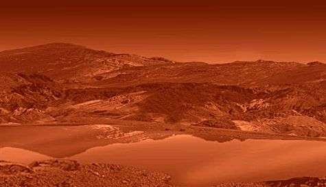Aspect que devrait présenter l'énigmatique Titan depuis la surface, noyée dans la brume d'hydrocarbures. Crédit : Nasa/JPL