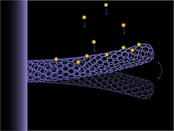 Représentation d'un nanotube à double paroi en oscillation avec des atomes d'or (jaunes) se déposant sur lui. Crédit : Zettl Research Group, Lawrence Berkeley National Laboratory and University of California at Berkeley