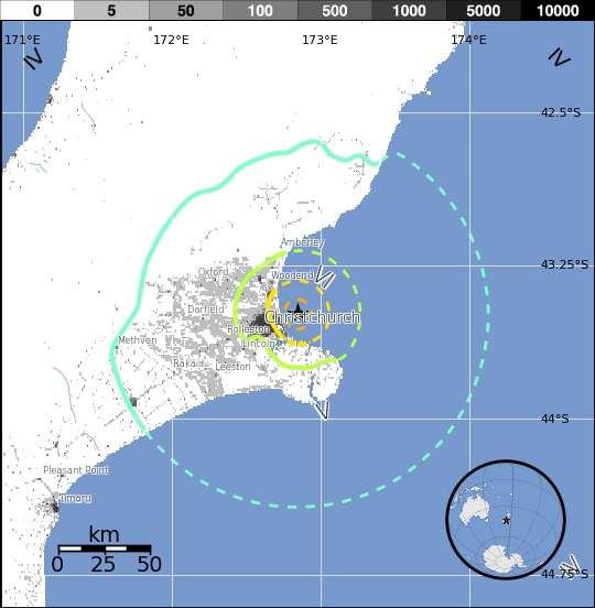 L'épicentre de la réplique ressentie à 15 h 18 (heure locale) ce 23 décembre se situe à l'est de la ville de Christchurch (étoile). Les cercles jaune, vert et bleu correspondent respectivement à des zones où les magnitudes mesurées au moment des faits sont de 6,0 ; 5,0 et 4,0. © USGS
