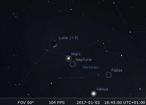 La Lune en rapprochement avec Mars et Neptune
