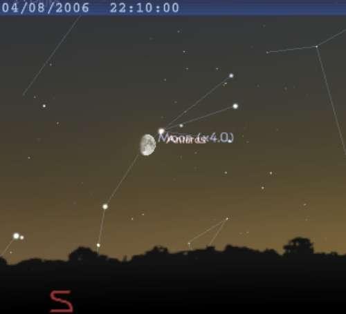 La Lune occulte l'étoile Tau du Scorpion, et sera en conjonction avec Antarès
