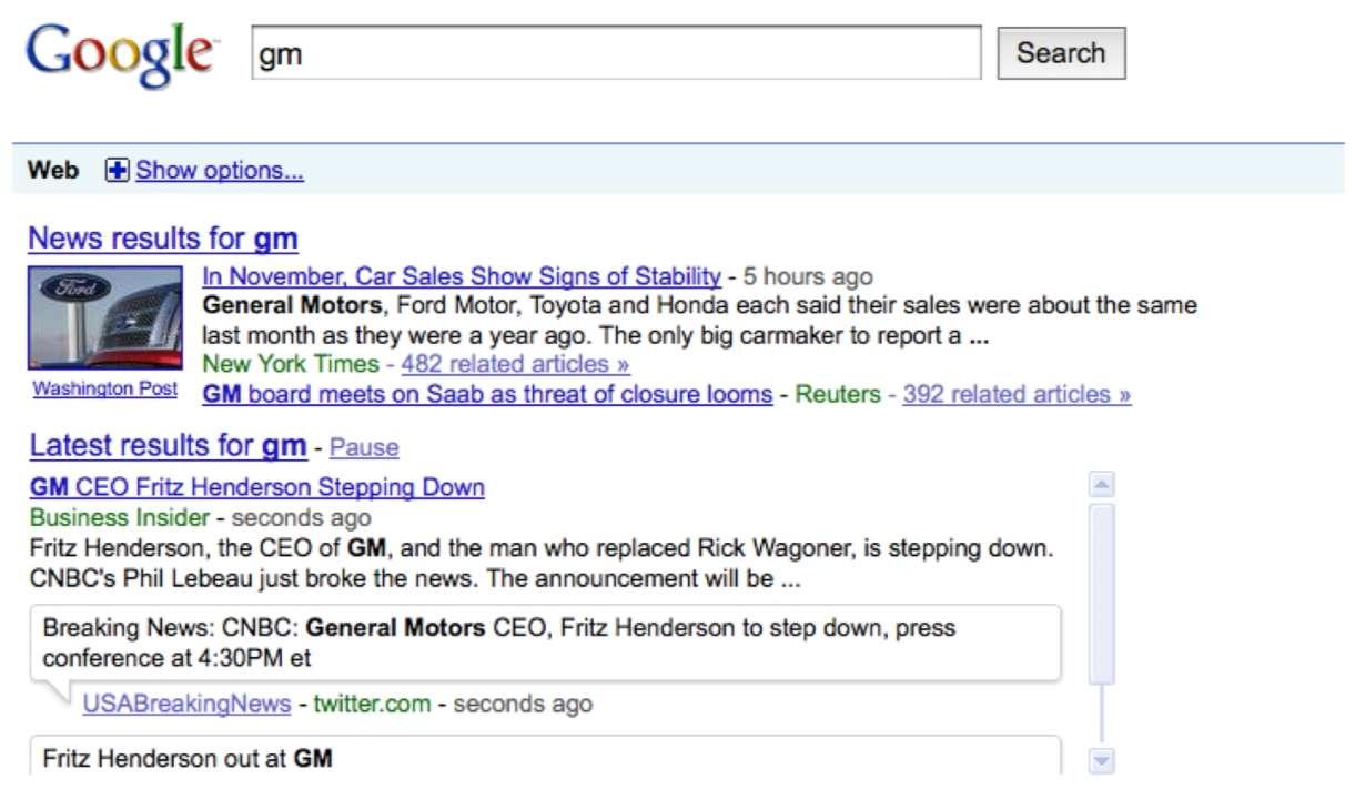 Une nouvelle rubrique, Latest results (derniers résultats), apparaîtra bientôt. © Google