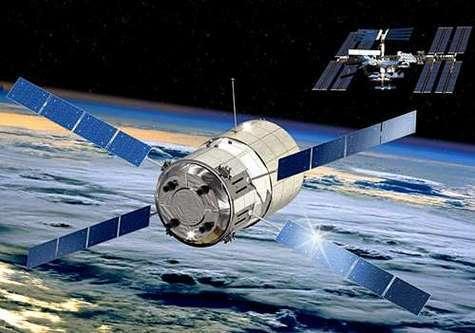 L'ATV en phase d'approche finale de la Station Spatiale Internationale