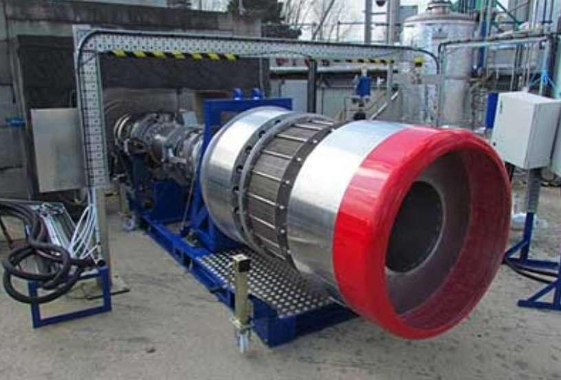 Le démonstrateur du système de refroidissement, prêt pour les tests. Son objectif est de refroidir l'air de 1.000 °C à -150 °C sans prise en glace. © Reaction Engines