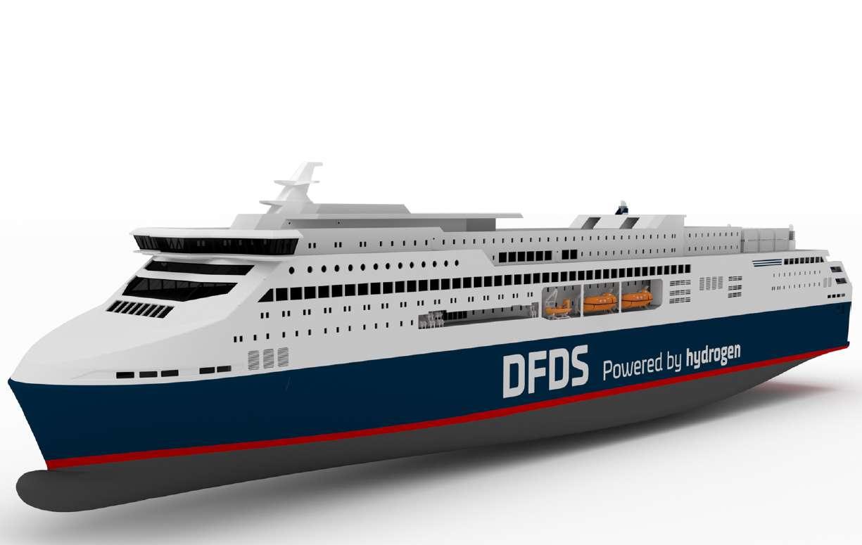 Un rendu du futur ferry à hydrogène vert de l'armateur DFDS. © DFDS