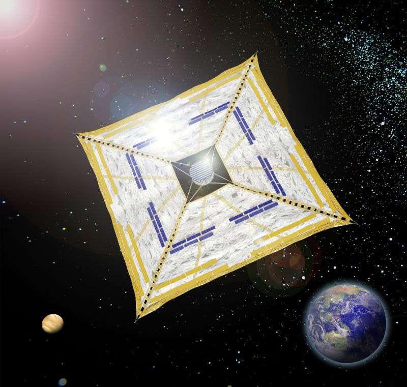Déployée dans l'espace, Ikaros est épaisse de seulement 0,0075 mm pour une envergure de vingt mètres. La membrane est parsemée de cellules photovoltaïques. Crédit Jaxa